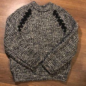 Revolve J.O.A. Chunky Lace Up Crew Neck Sweater XS